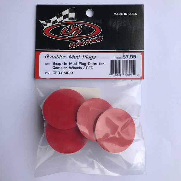 DER-GMP-R Snap-In Mud Plug Disk for Gambler Wheels Red
