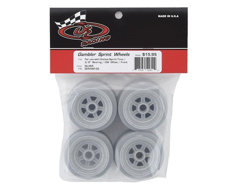 "DER-GSF-CS DE Racing Gambler 3/8"" Bearing Front Wheels (Custom Works/GFRP) (Silver)"