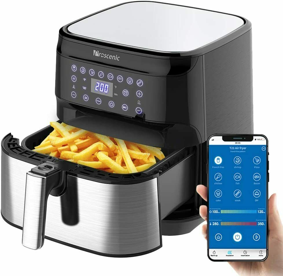 5.5L oil-free hot air fryer controlled by App Proscenic T21
