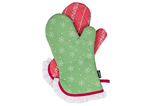 Ladelle Heidi Kitchen Glove Cotton Green / Red 33 x 18 cm