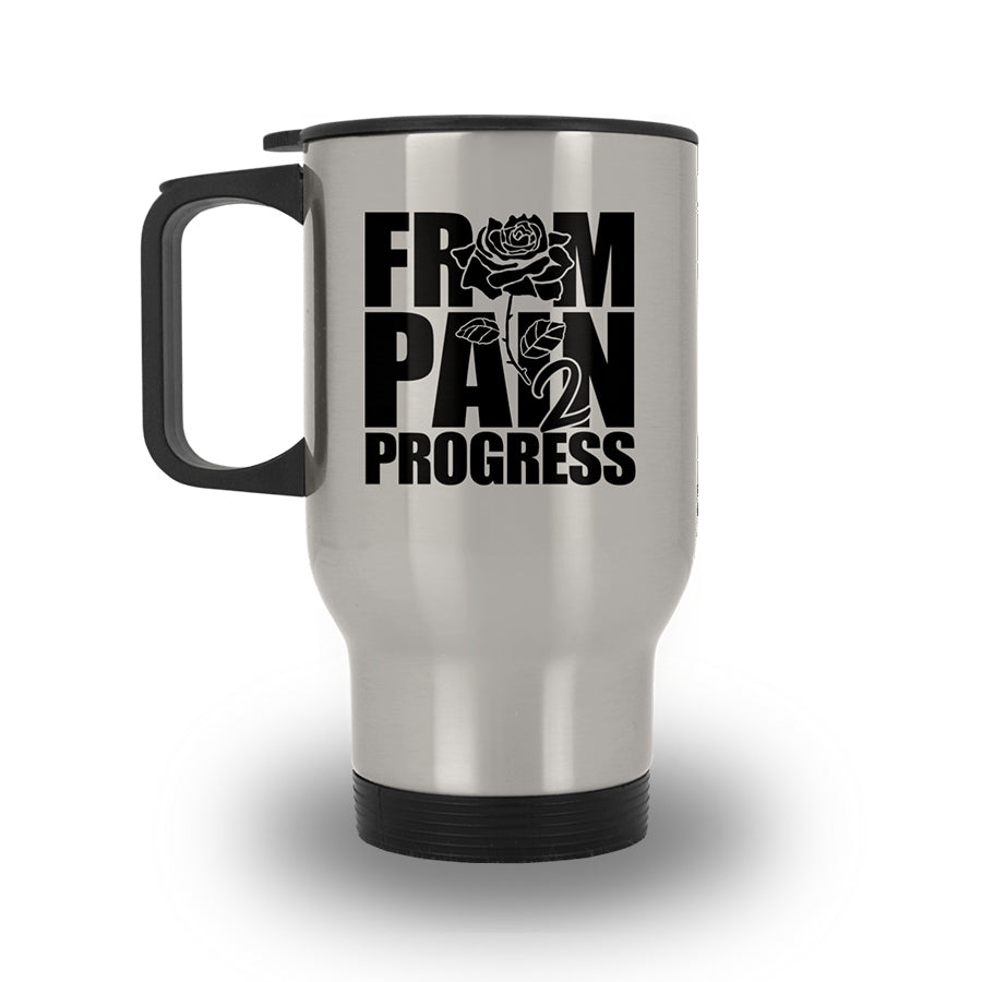 FP2P Silver Stainless Travel Mug - FromPain2Progress.Com