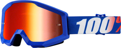 100% 100% Strata Goggles - Adult / Nation with Mirror Blue Lens