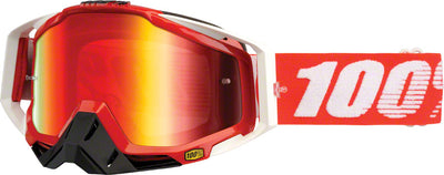 100% 100% Racecraft Goggles - Fire Red Frame with Mirror Red Lens