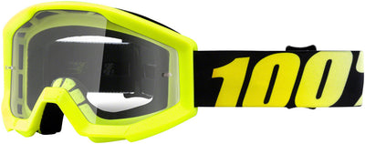 100% 100% Strata Goggles - Jr / Neon Yellow with Clear Lens