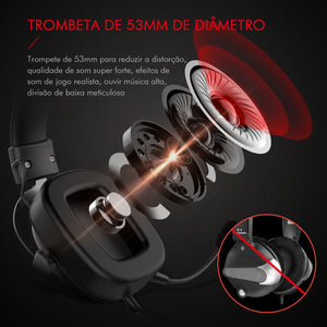 Headphone Fone de Ouvido Havit HV-H2002d, Gamer, com Microfone, Falante 53mm, Plug 3, 5mm: compatível com XBOX ONE e PS4, HAVIT, HV-H2002d