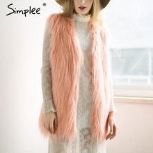 Load image into Gallery viewer, Simplee Fluffy black faux fur vest waistcoat Autumn winter sleeveless outerwear women coats Soft white hairy overcoat