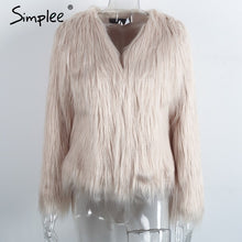 Load image into Gallery viewer, Simplee Faux fur women plus size jacket coat Black hairy o neck front button tassel outerwear Winter casual long sleeve overcoat