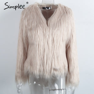 Simplee Faux fur women plus size jacket coat Black hairy o neck front button tassel outerwear Winter casual long sleeve overcoat