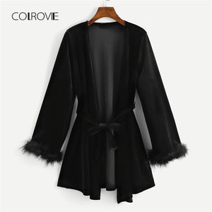COLROVIE Black Solid Elegant Faux Fur Cuff Velvet Longline Coat Women Clothes 2018 Autumn Office Vintage Ladies Outerwear
