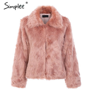 Simplee Elegant faux fur women coat Winter warm thick plush fur outwear Female hairy furry party crop Christmas coat plus size