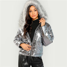 Load image into Gallery viewer, COLROVIE Silver Metallic Puffer Faux Fur Trim Hoodie Winter Padded Jacket Coat Womens Clothing Casual Thick Ladies Outerwear