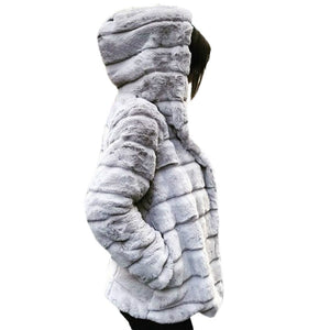 Women Mink Coats Winter Hooded New Faux Fur Jacket Warm Thick Outerwear Jacket