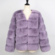 Load image into Gallery viewer, Fashion Women Faux Fur Jacket Coat Long Sleeves V Neck Solid Color Fluffy Jacket Furry Casual Luxury Short Overcoat Outwear