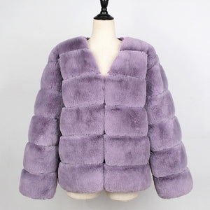 Fashion Women Faux Fur Jacket Coat Long Sleeves V Neck Solid Color Fluffy Jacket Furry Casual Luxury Short Overcoat Outwear