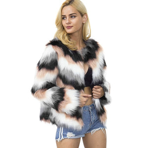 Women Faux Fur Jacket Colorful Striped Printed Long Sleeve Fluffy Hairy Warm Coat 2019 Autumn Winter Slim Outerwear female tunic