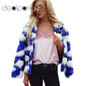 Women Faux Fur Jacket Fluffy Color Block Printed Long Sleeve Shaggy Warm Slim Outerwear 2019 Autumn Winter Coat female tunic top