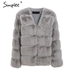 Simplee 2019 plus size women fluffy faux fur coat Elegant thick warm outwear jacket coat Autumn winter casual party overcoat