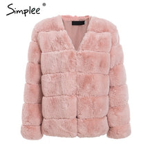 Load image into Gallery viewer, Simplee 2019 plus size women fluffy faux fur coat Elegant thick warm outwear jacket coat Autumn winter casual party overcoat