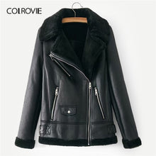 Load image into Gallery viewer, COLROVIE Black Zipper Pocket Faux Fur Lined PU Leather Jacket Coat Women 2019 Fashion Warm Thick Ladies Jackets Female Outerwear