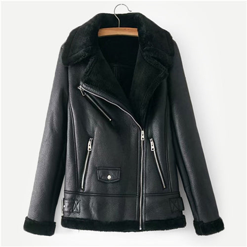 COLROVIE Black Zipper Pocket Faux Fur Lined PU Leather Jacket Coat Women 2019 Fashion Warm Thick Ladies Jackets Female Outerwear