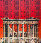 "parthenon in flames, ""art currency"" series"
