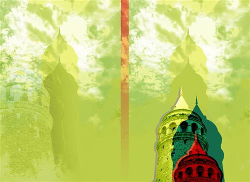 galata tower series: lime color