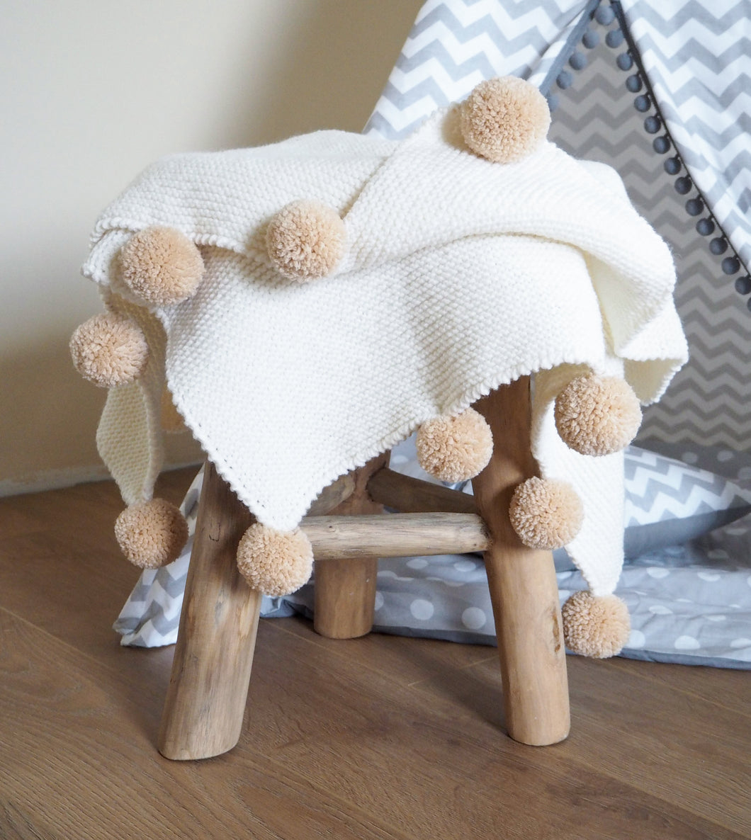 Baby knitted POM POM blanket (white)