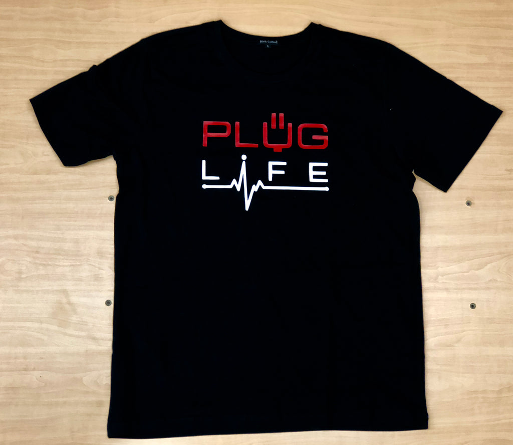 Plug Life Life Line Unisex T Shirt - Black/White/Red