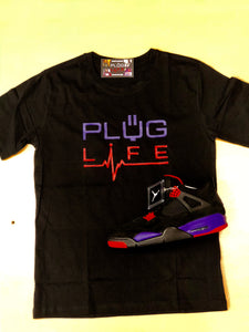Plug Life Life Line Unisex T Shirt  - Black/Purple/Red