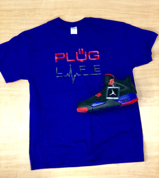 Plug Life Life Line Unisex T Shirt - Royal Blue/Red