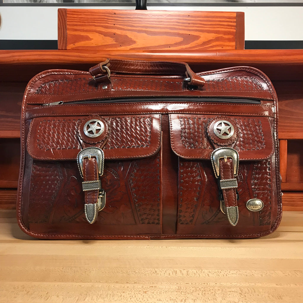 Six Compartment Mahogany Leather Organized Briefcase - American Leatherworks
