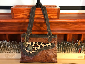 Tan Leather 3 Compartment Tote with Hair-on Leopard Print Flap - American Leatherworks