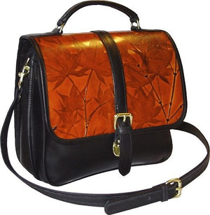 Executive Black and Colored Leaf Leather Saddle Bag (Color Options) - American Leatherworks