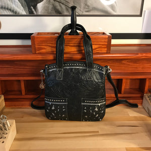 Black Leather with Silver Filigree Inserts Convertible Tote - American Leatherworks