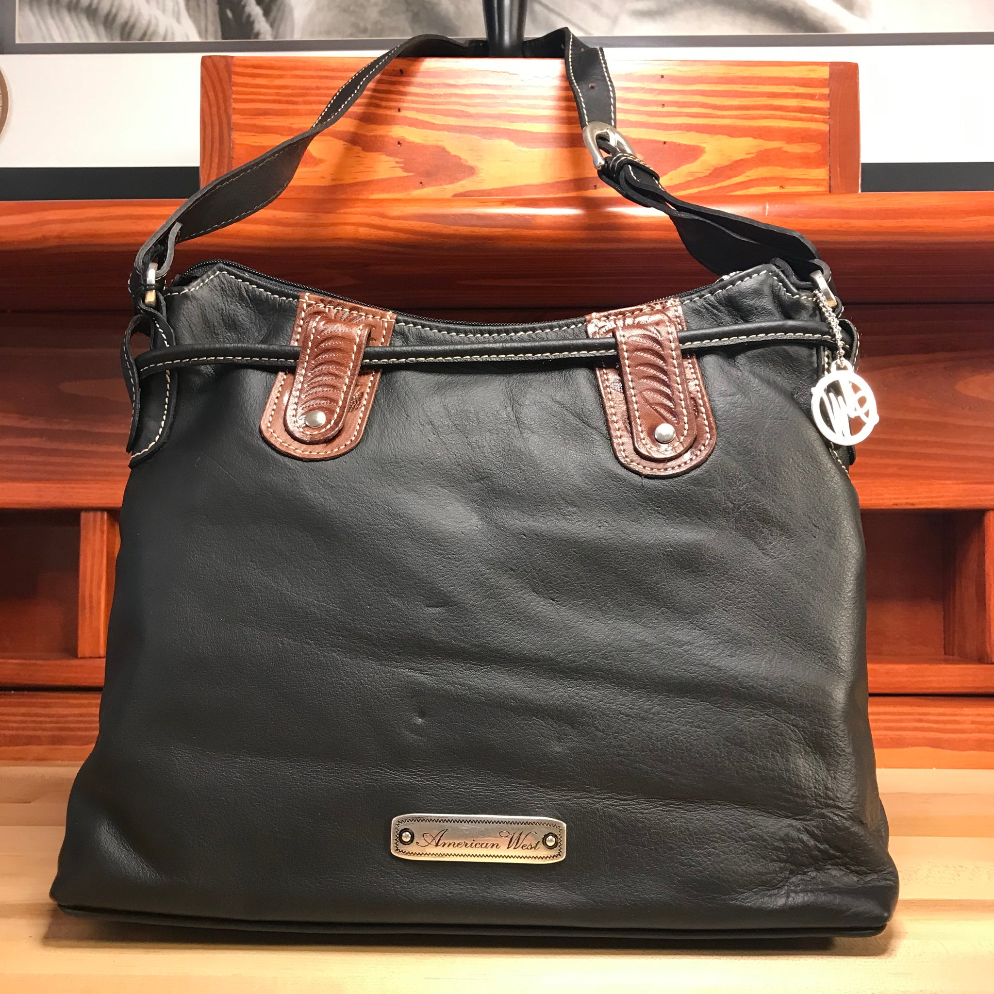 Black Leather Zip-Top Structured Hobo with Brown Pockets - American Leatherworks