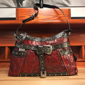 Distressed Crimson Zip-Top Shoulder Bag with Buckle