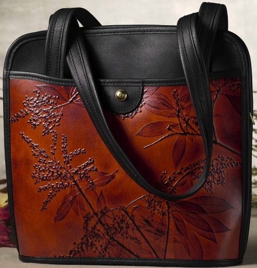 Commuter Two Strap Black and Leaf Leather Handbag (Color Options) - American Leatherworks