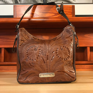Concealed Carry Antique Brown and Chocolate Leather Zip-Top Shoulder Bag - American Leatherworks