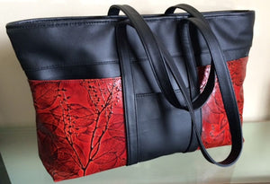 Black and Colored Leaf Leather Traveler Tote (Color Options) - American Leatherworks