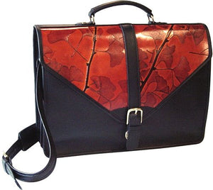 Black and Colored Leaf Leather Briefcase (Color Options) - American Leatherworks