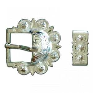 Shiny Silver Berry Buckle with Keeper - American Leatherworks