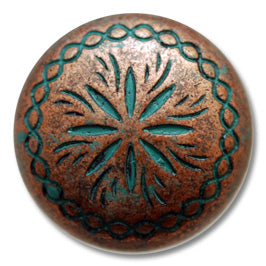 Round Sunburst Concho with Screwpost (Choose Size and Color at Checkout) - American Leatherworks