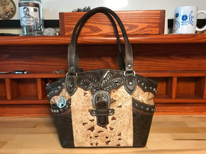 Filigree Brown and Tan Leather Zip Top Tote - American Leatherworks
