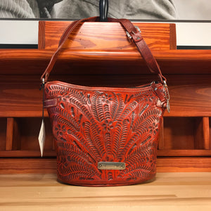 Filigree Distressed Orange Leather Zip-Top Bucket Shoulder Bag - American Leatherworks