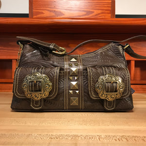 Earth Brown Leather Zip-Top Shoulder Bag with Brass Buckles - American Leatherworks