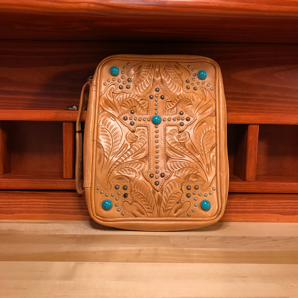 Light Tan Leather Bible Case with Cross and Turquoise Spots - American Leatherworks
