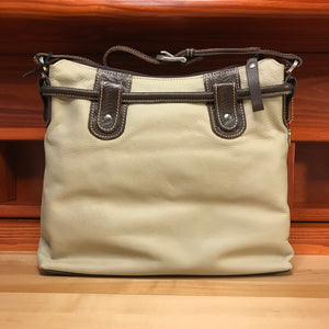Cream Leather Zip-Top Structured Hobo with Chocolate Pockets - American Leatherworks