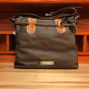Chocolate Leather Zip-Top Structured Hobo with Pockets - American Leatherworks