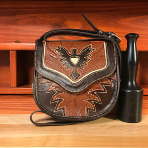 Antique Brown and Chocolate Brown Leather Crossbody Flap Bag with Eagle Cutout - American Leatherworks