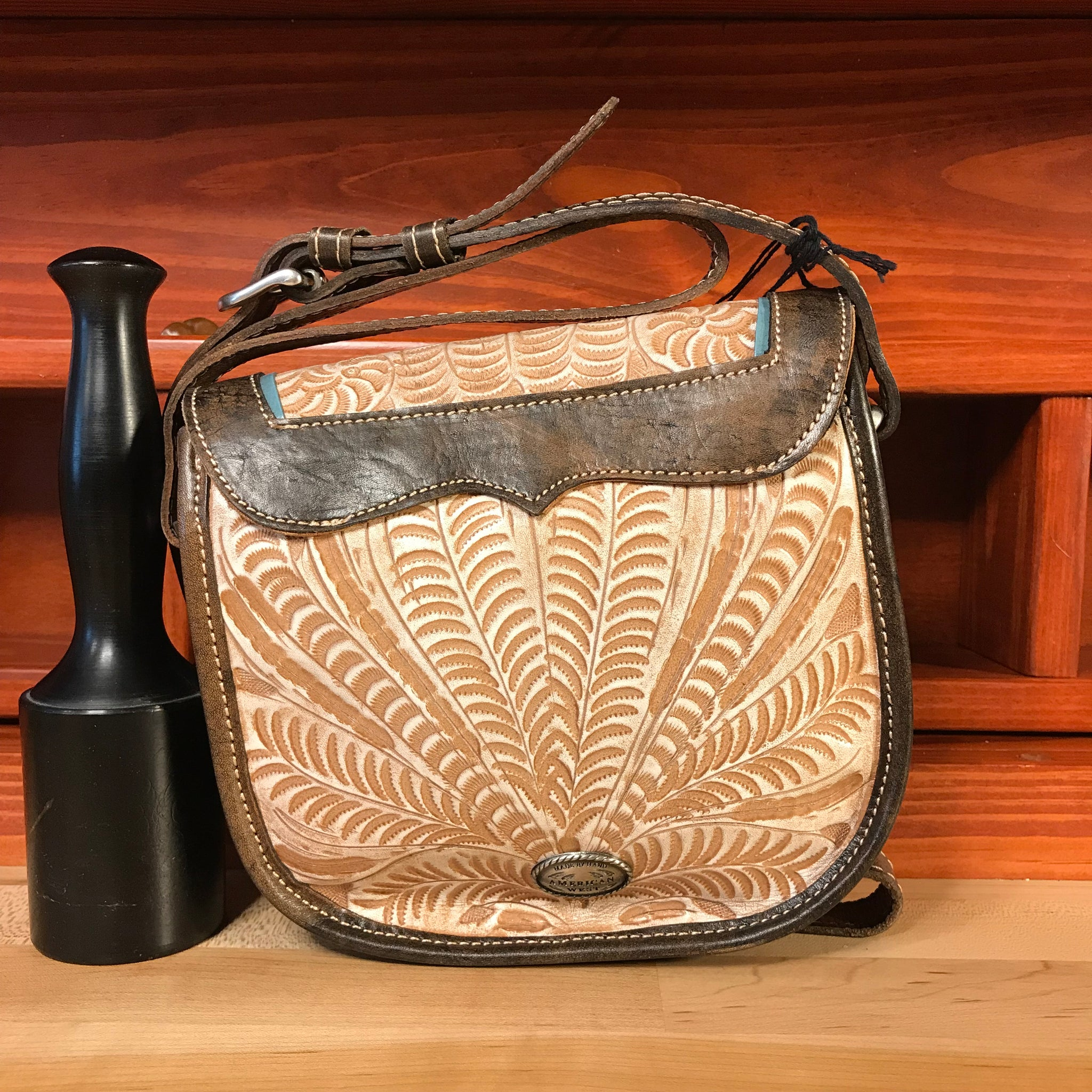 Distressed Cream and Charcoal Brown Crossbody Flap Bag with Eagle - American Leatherworks